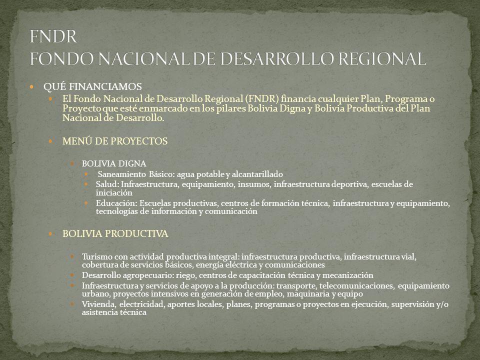 QUÉ FINANCIAMOS El Fondo Nacional de Desarrollo Regional (FNDR) financia cualquier Plan, Programa o Proyecto que esté enmarcado en los pilares Bolivia