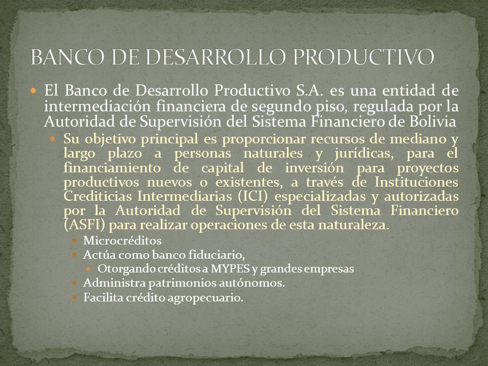 El Banco de Desarrollo Productivo S.A. es una entidad de intermediación financiera de segundo piso, regulada por la Autoridad de Supervisión del Siste
