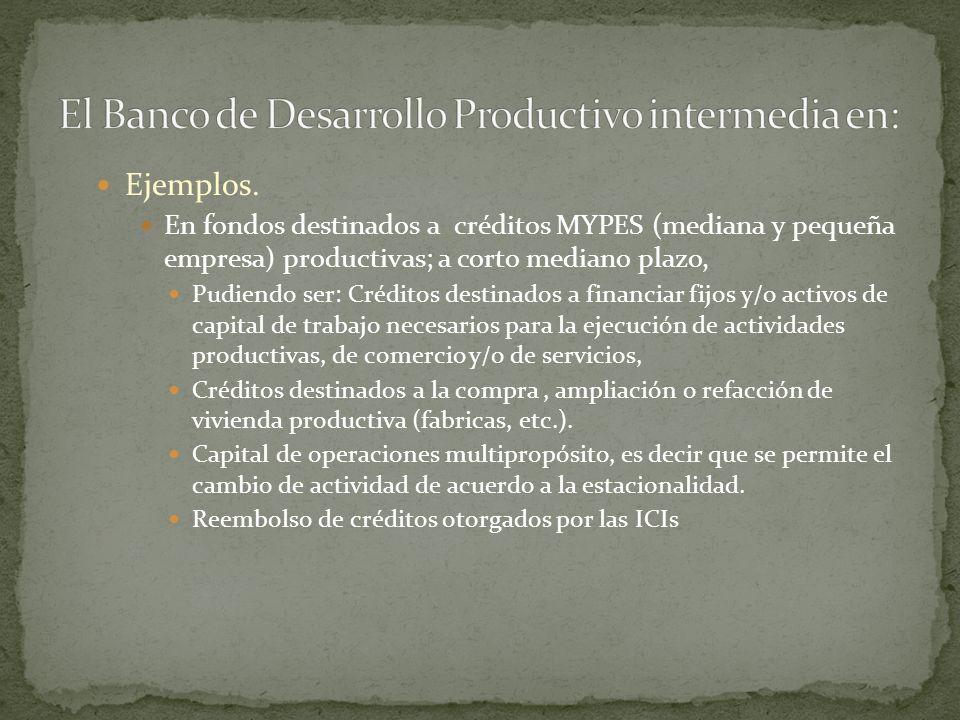 Ejemplos. En fondos destinados a créditos MYPES (mediana y pequeña empresa) productivas; a corto mediano plazo, Pudiendo ser: Créditos destinados a fi