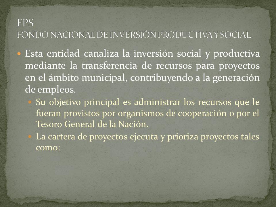 Esta entidad canaliza la inversión social y productiva mediante la transferencia de recursos para proyectos en el ámbito municipal, contribuyendo a la