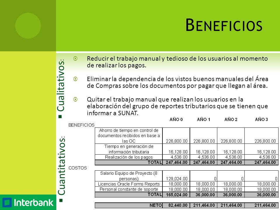 Reducir el trabajo manual y tedioso de los usuarios al momento de realizar los pagos. Eliminar la dependencia de los vistos buenos manuales del Área d