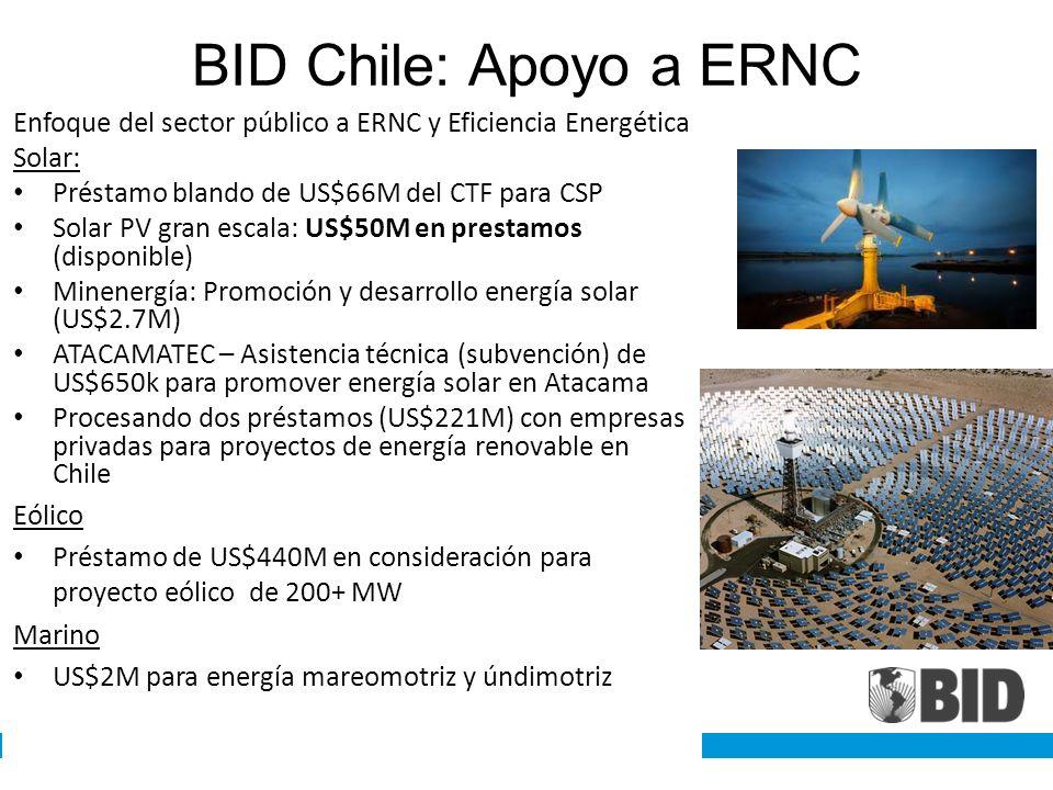 BID Chile: Apoyo a ERNC Enfoque del sector público a ERNC y Eficiencia Energética Solar: Préstamo blando de US$66M del CTF para CSP Solar PV gran esca