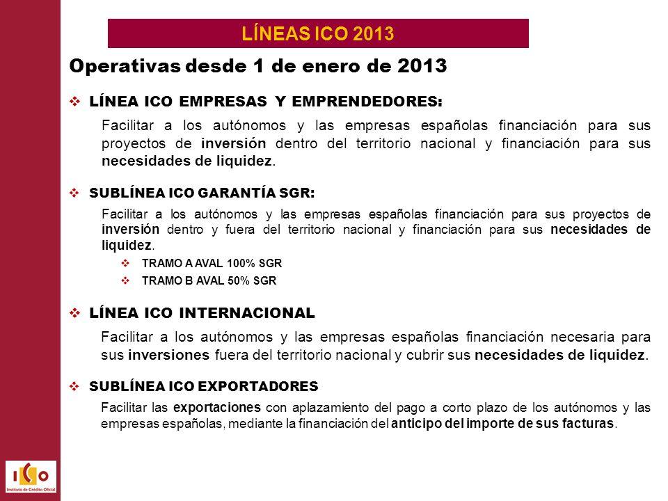 LÍNEAS ICO 2013 LÍNEA ICO EMPRESAS Y EMPRENDEDORES: Facilitar a los autónomos y las empresas españolas financiación para sus proyectos de inversión dentro del territorio nacional y financiación para sus necesidades de liquidez.