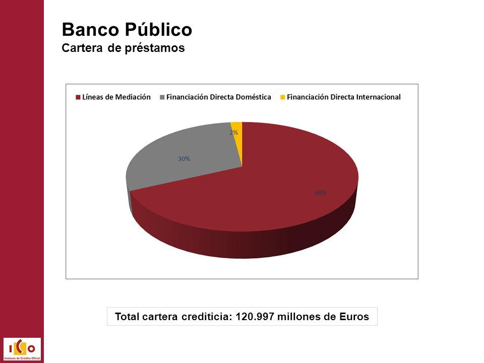 Total cartera crediticia: 120.997 millones de Euros Banco Público Cartera de préstamos