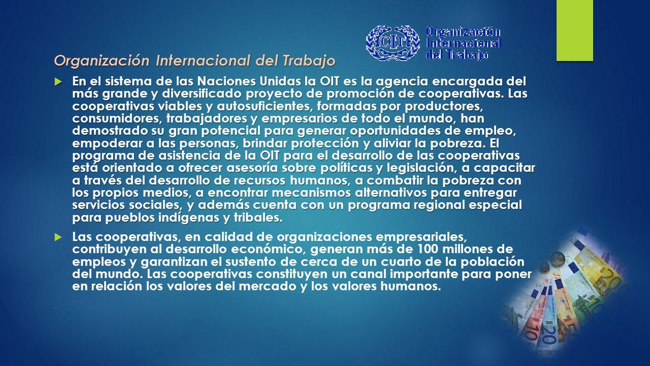 Organización Internacional del Trabajo En el sistema de las Naciones Unidas la OIT es la agencia encargada del más grande y diversificado proyecto de