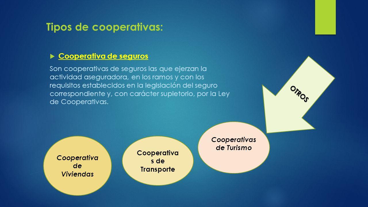 Cooperativa de seguros Son cooperativas de seguros las que ejerzan la actividad aseguradora, en los ramos y con los requisitos establecidos en la legi