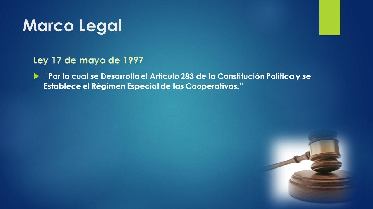 Marco Legal Ley 17 de mayo de 1997 Por la cual se Desarrolla el Artículo 283 de la Constitución Política y se Establece el Régimen Especial de las Coo