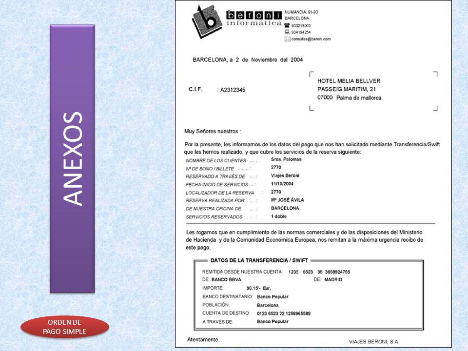 ANEXOS ORDEN DE PAGO SIMPLE ORDEN DE PAGO SIMPLE