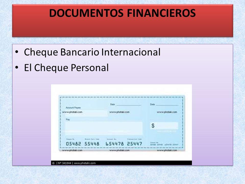 Cheque Bancario Internacional El Cheque Personal Cheque Bancario Internacional El Cheque Personal DOCUMENTOS FINANCIEROS