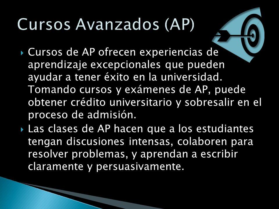 Cursos de AP ofrecen experiencias de aprendizaje excepcionales que pueden ayudar a tener éxito en la universidad. Tomando cursos y exámenes de AP, pue