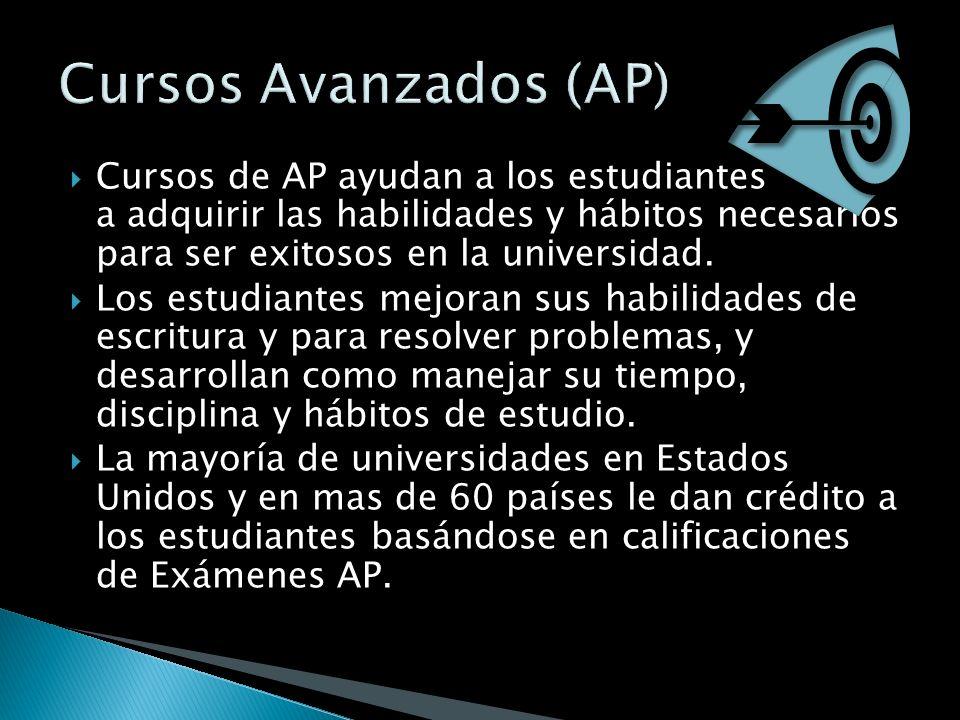 Cursos de AP ayudan a los estudiantes a adquirir las habilidades y hábitos necesarios para ser exitosos en la universidad. Los estudiantes mejoran sus