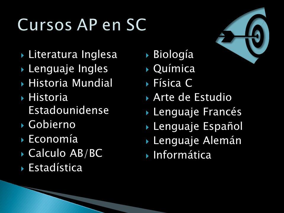 Literatura Inglesa Lenguaje Ingles Historia Mundial Historia Estadounidense Gobierno Economía Calculo AB/BC Estadística Biología Química Física C Arte