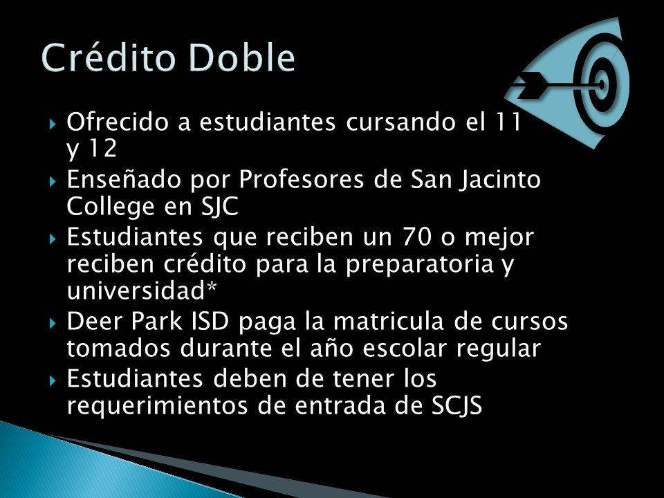 Ofrecido a estudiantes cursando el 11 y 12 Enseñado por Profesores de San Jacinto College en SJC Estudiantes que reciben un 70 o mejor reciben crédito