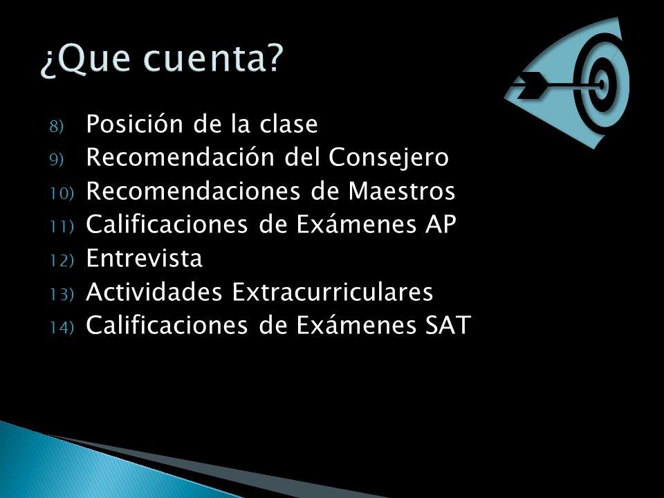 8) Posición de la clase 9) Recomendación del Consejero 10) Recomendaciones de Maestros 11) Calificaciones de Exámenes AP 12) Entrevista 13) Actividades Extracurriculares 14) Calificaciones de Exámenes SAT