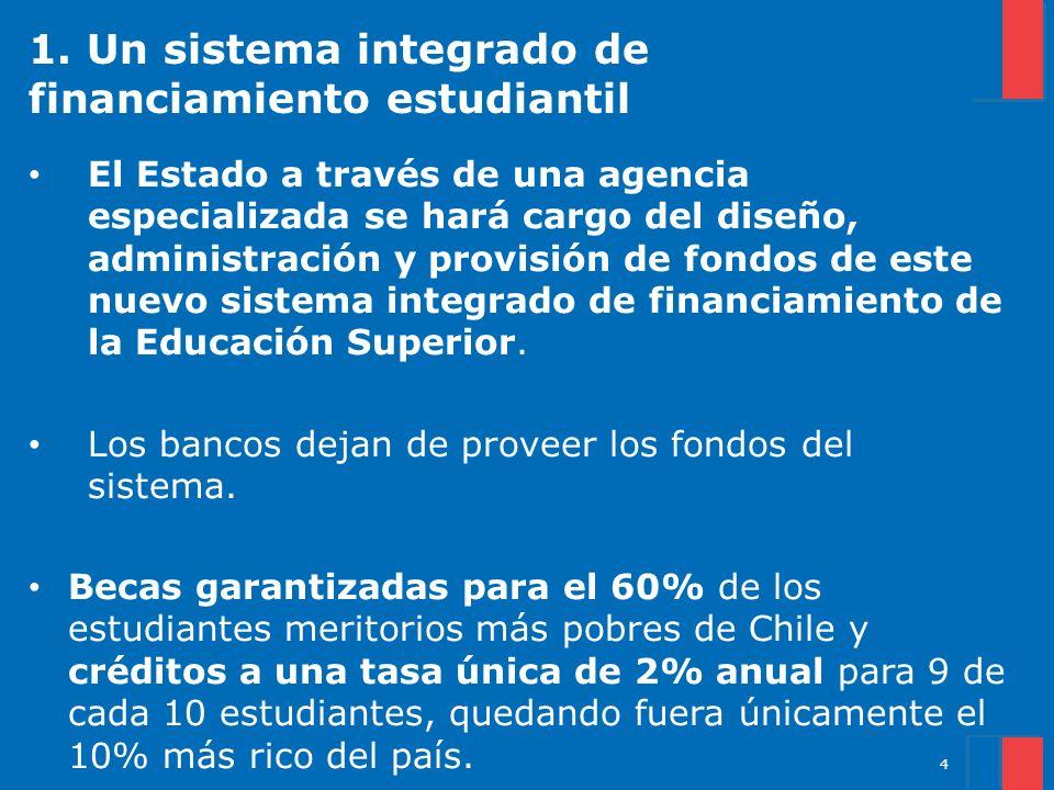 1. Un sistema integrado de financiamiento estudiantil El Estado a través de una agencia especializada se hará cargo del diseño, administración y provi
