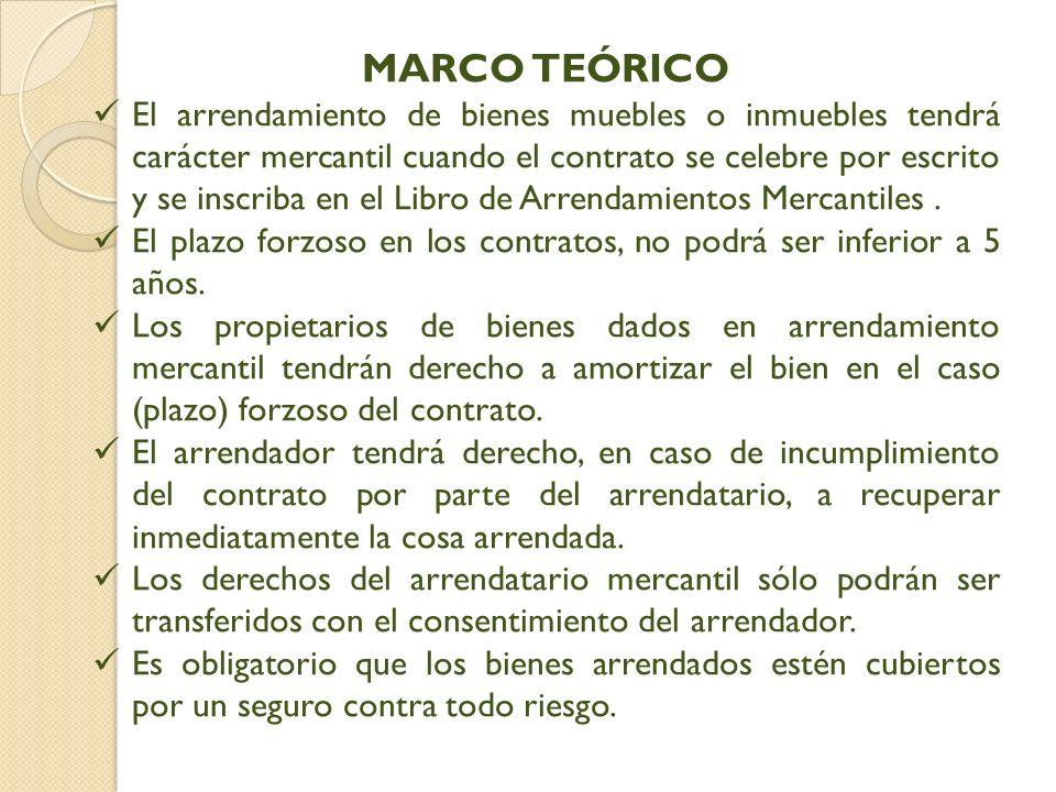 MARCO TEÓRICO El arrendamiento de bienes muebles o inmuebles tendrá carácter mercantil cuando el contrato se celebre por escrito y se inscriba en el Libro de Arrendamientos Mercantiles.