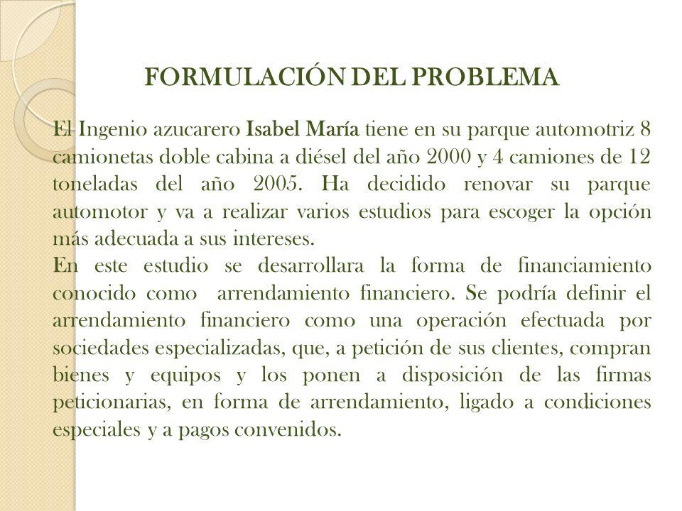 FORMULACIÓN DEL PROBLEMA El Ingenio azucarero Isabel María tiene en su parque automotriz 8 camionetas doble cabina a diésel del año 2000 y 4 camiones de 12 toneladas del año 2005.