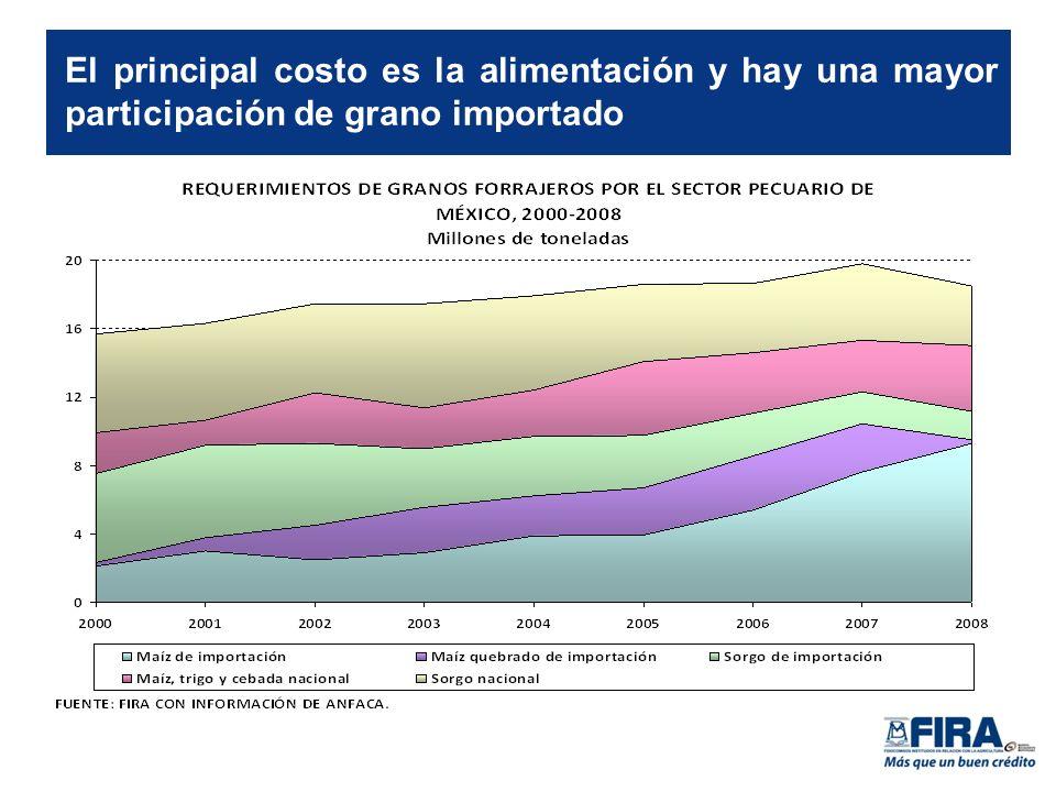 El principal costo es la alimentación y hay una mayor participación de grano importado
