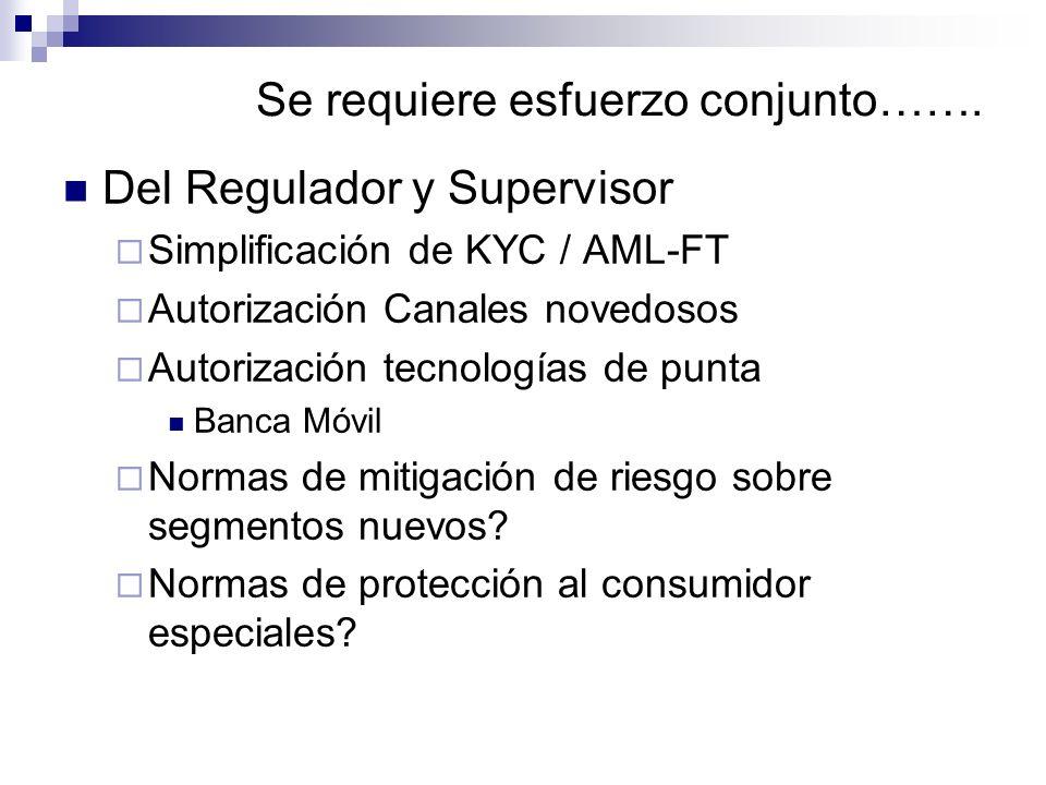 Se requiere esfuerzo conjunto……. Del Regulador y Supervisor Simplificación de KYC / AML-FT Autorización Canales novedosos Autorización tecnologías de