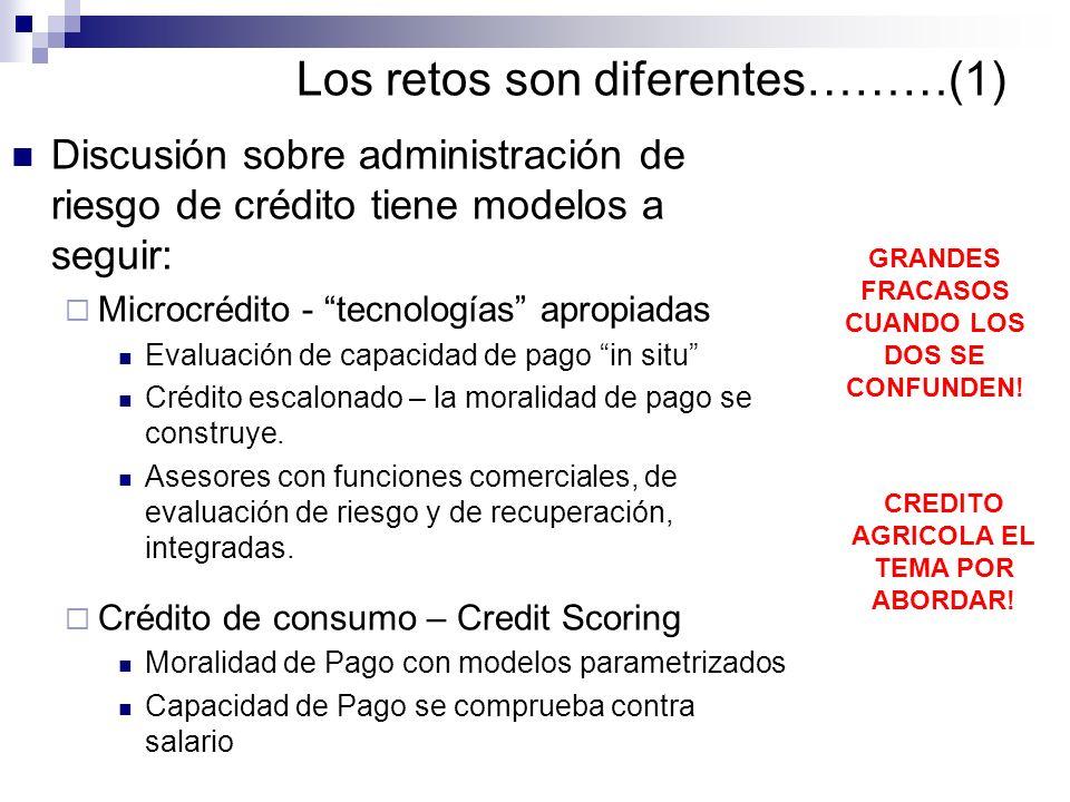 Los retos son diferentes………(1) Discusión sobre administración de riesgo de crédito tiene modelos a seguir: Microcrédito - tecnologías apropiadas Evalu