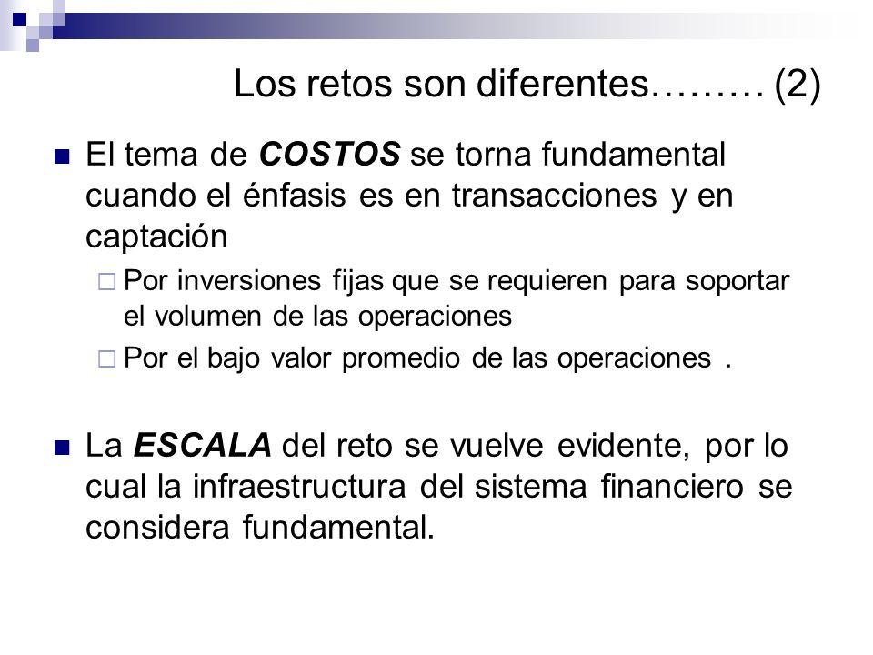 Los retos son diferentes……… (2) El tema de COSTOS se torna fundamental cuando el énfasis es en transacciones y en captación Por inversiones fijas que