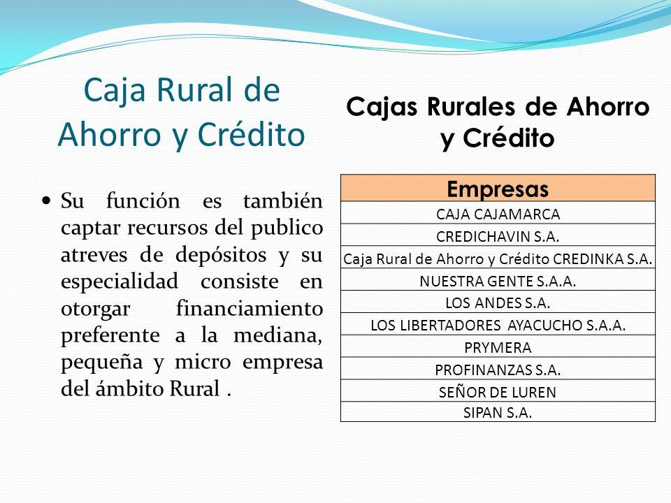 Cajas Rurales de Ahorro y Crédito Empresas CAJA CAJAMARCA CREDICHAVIN S.A. Caja Rural de Ahorro y Crédito CREDINKA S.A. NUESTRA GENTE S.A.A. LOS ANDES