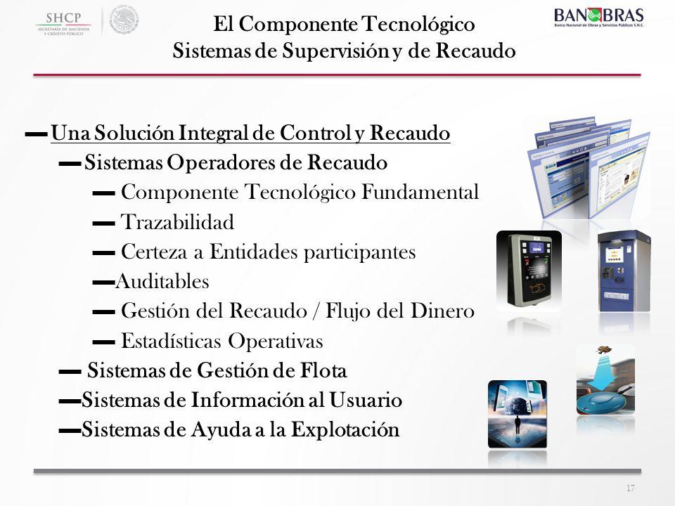 17 El Componente Tecnológico Sistemas de Supervisión y de Recaudo Una Solución Integral de Control y Recaudo Sistemas Operadores de Recaudo Componente