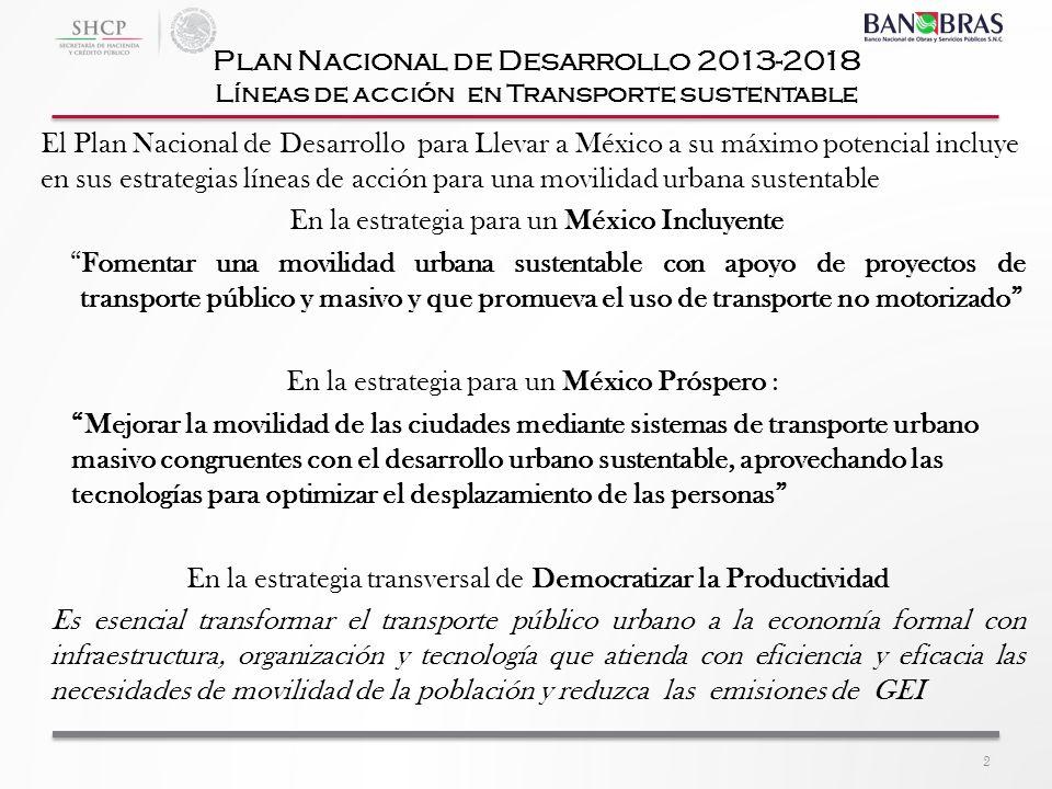El Plan Nacional de Desarrollo para Llevar a México a su máximo potencial incluye en sus estrategias líneas de acción para una movilidad urbana susten
