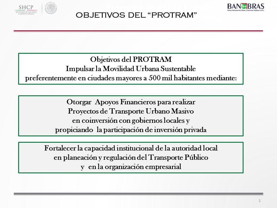 Programa de Apoyo Federal al Transporte Masivo PROTRAM OBJETIVOS DEL PROTRAM Objetivos del PROTRAM Impulsar la Movilidad Urbana Sustentable preferente