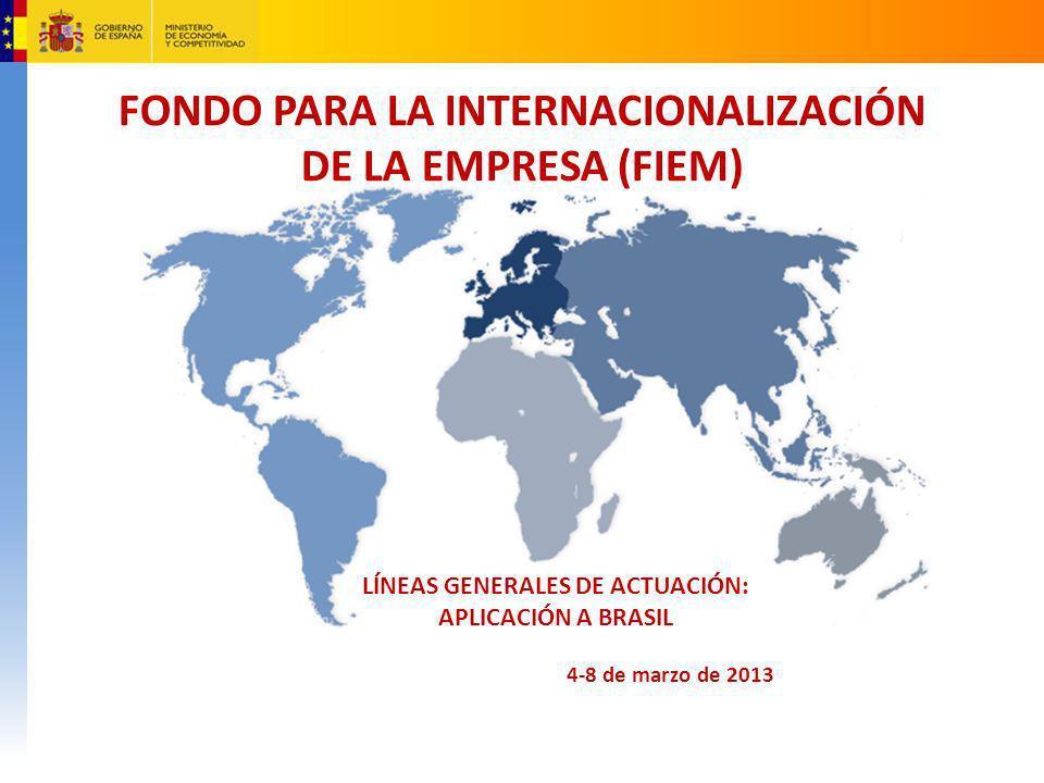 Legislación FIEM Ley 11/2010, de 28 de junio, de reforma del sistema de apoyo financiero a la internacionalización, por la que se crea el FIEM RD 1797/2010, de 30 de diciembre, de creación del Reglamento del FIEM.