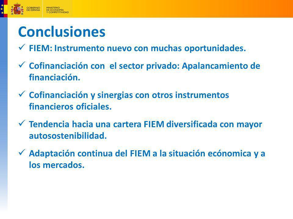 Conclusiones FIEM: Instrumento nuevo con muchas oportunidades. Cofinanciación con el sector privado: Apalancamiento de financiación. Cofinanciación y