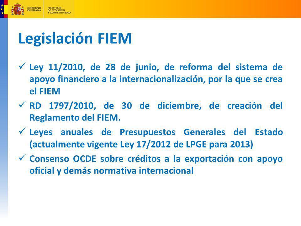 Legislación FIEM Ley 11/2010, de 28 de junio, de reforma del sistema de apoyo financiero a la internacionalización, por la que se crea el FIEM RD 1797