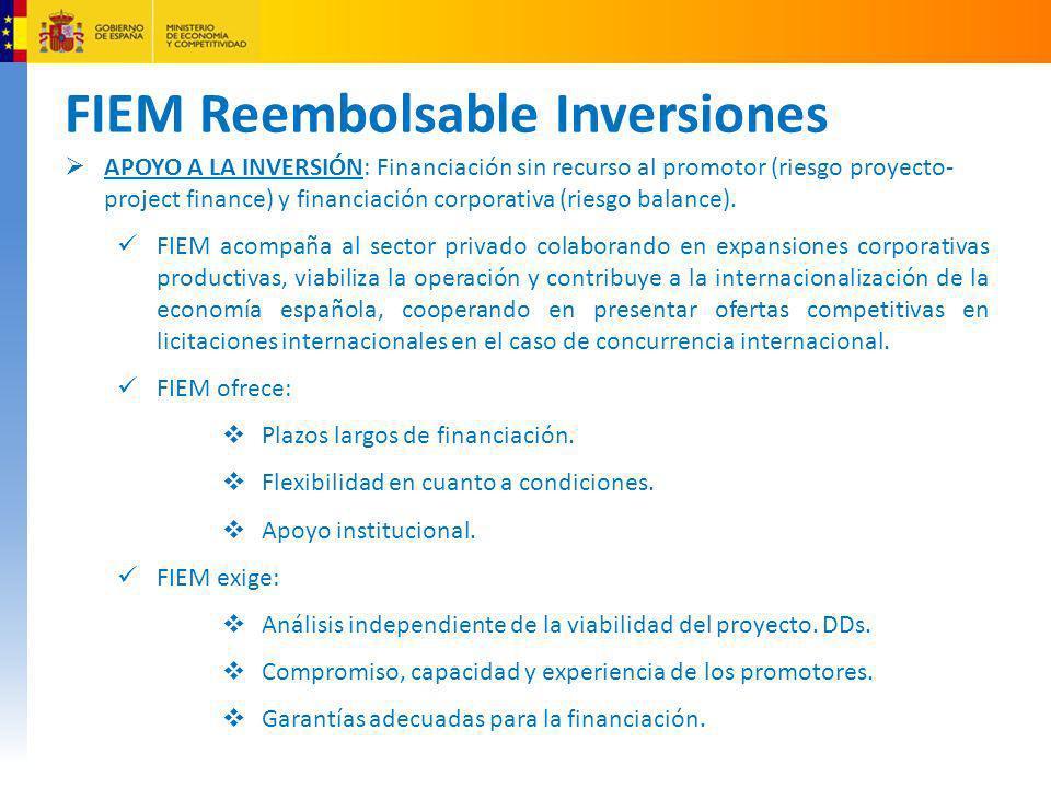 FIEM Reembolsable Inversiones Ejemplos de Project Finance financiados con cargo al FIEM Parque Eólico en Uruguay Cuantía del Crédito: Hasta 50 millones USD Cofinanciador: BROU Estructura: 75/25 Plazo: 14 + 2 Tipo de interés: 4-5% Componente Español : 75 millones USD Gasoducto en México Cuantía del Crédito: 50 millones USD Cofinanciador: Banobras, Banamex-Citigroup Estructura: 75/25 Plazo: 20 años Tipo de interés: 4-6% Contrato Adjudicado: 268 millones USD Planta Petroquímica en Arabía Saudi Cuantía del Crédito: hasta 300 millones USD Cofinanciador: Fondos Propios Estructura: 65/35 Plazo: 12+5 Tipo de interés: 3-6% Contrato Adjudicado: 787 millones USD