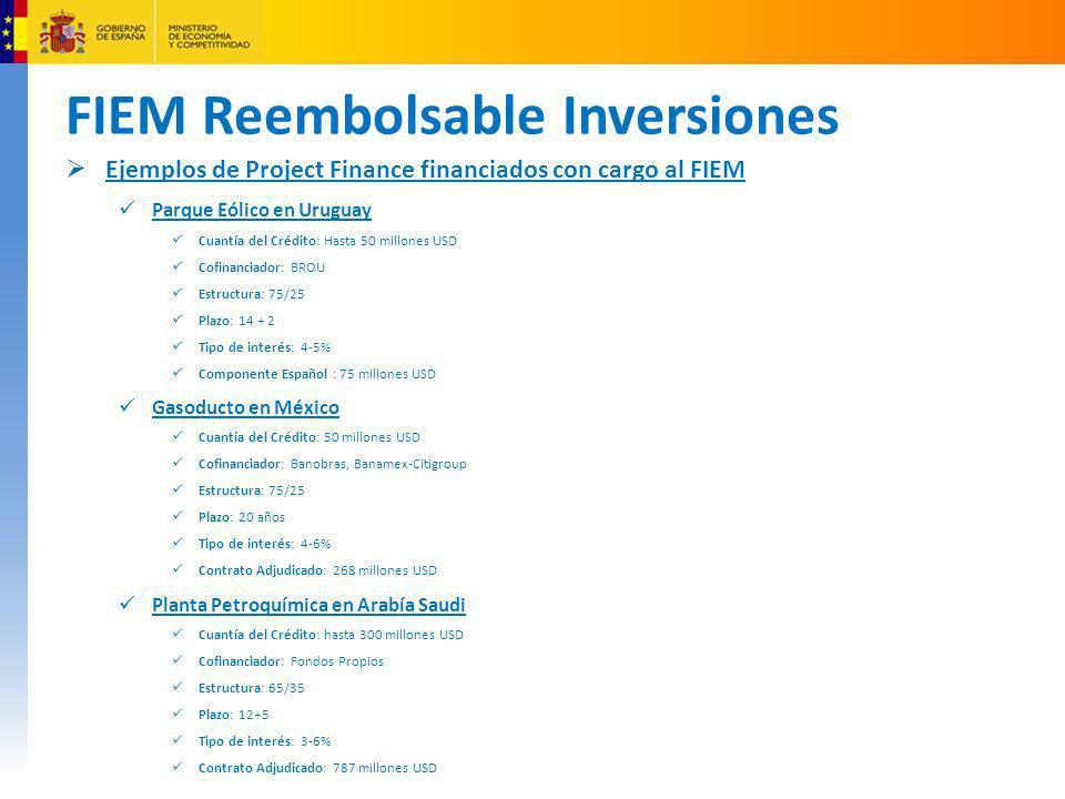 FIEM Reembolsable Inversiones Ejemplos de Project Finance financiados con cargo al FIEM Parque Eólico en Uruguay Cuantía del Crédito: Hasta 50 millone
