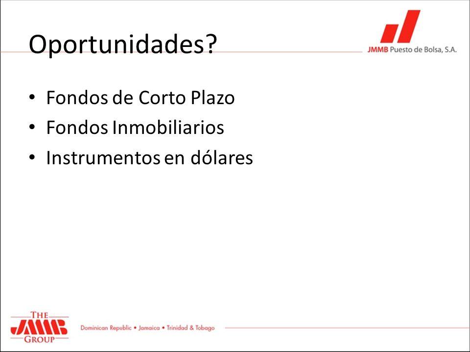 Oportunidades? Fondos de Corto Plazo Fondos Inmobiliarios Instrumentos en dólares