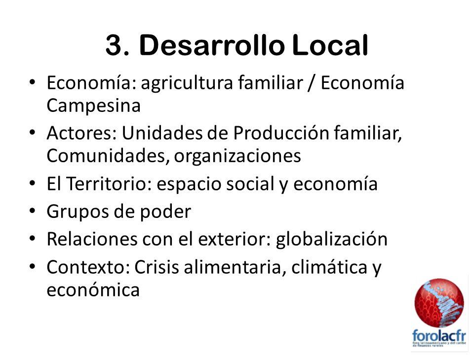 3. Desarrollo Local Economía: agricultura familiar / Economía Campesina Actores: Unidades de Producción familiar, Comunidades, organizaciones El Terri