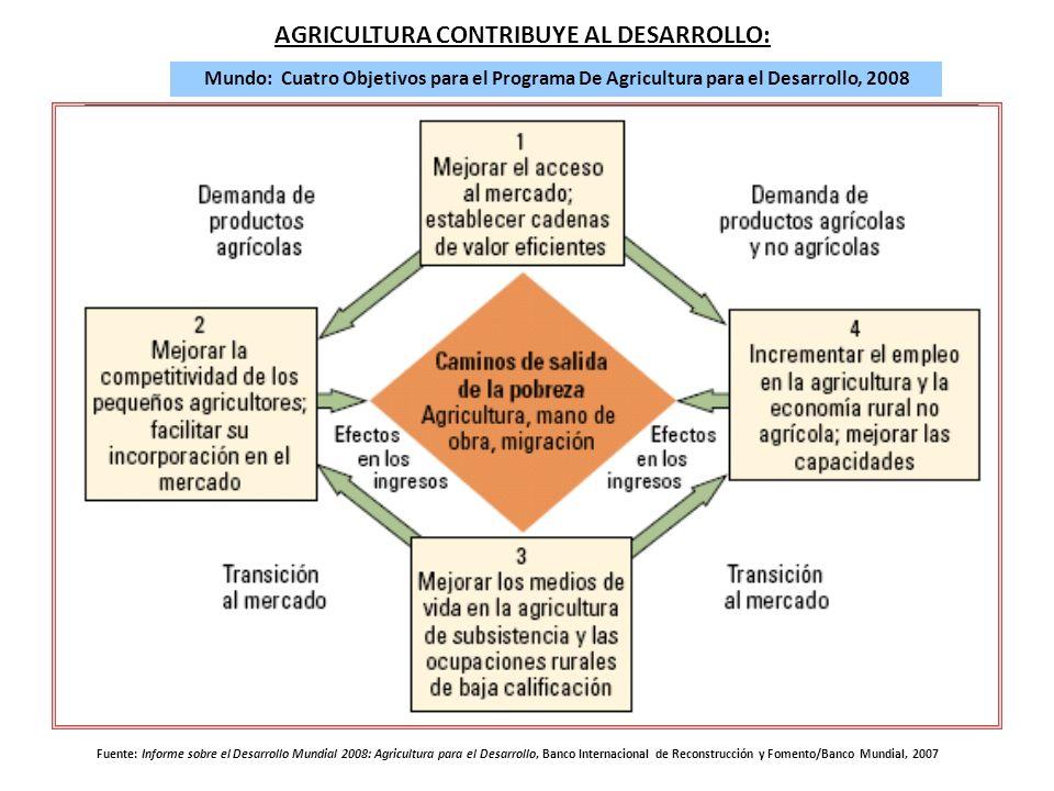 CONTEXTO DEL ÁMBITO RURAL MEXICANO AGRICULTURA CONTRIBUYE AL DESARROLLO: Mundo: Cuatro Objetivos para el Programa De Agricultura para el Desarrollo, 2008 Fuente: Informe sobre el Desarrollo Mundial 2008: Agricultura para el Desarrollo, Banco Internacional de Reconstrucción y Fomento/Banco Mundial, 2007