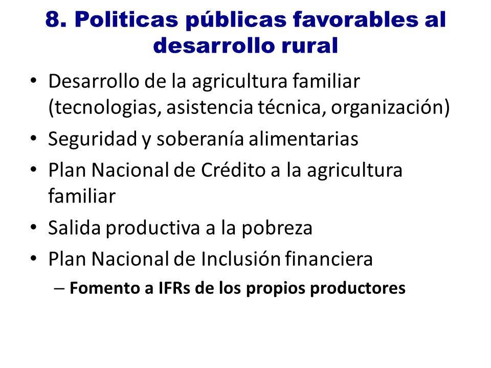 8. Politicas públicas favorables al desarrollo rural Desarrollo de la agricultura familiar (tecnologias, asistencia técnica, organización) Seguridad y