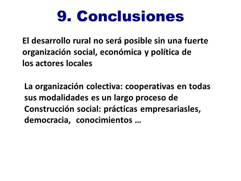 9. Conclusiones La organización colectiva: cooperativas en todas sus modalidades es un largo proceso de Construcción social: prácticas empresariasles,