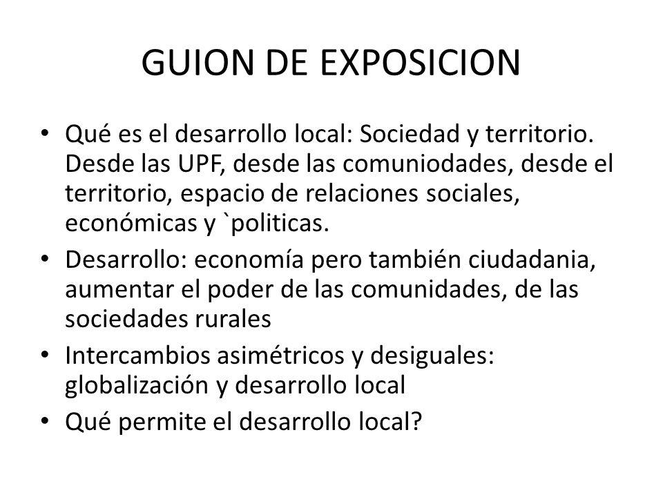 GUION DE EXPOSICION Qué es el desarrollo local: Sociedad y territorio.