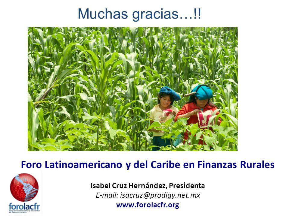 Foro Latinoamericano y del Caribe en Finanzas Rurales Isabel Cruz Hernández, Presidenta E-mail: isacruz@prodigy.net.mx www.forolacfr.org Muchas gracias…!!