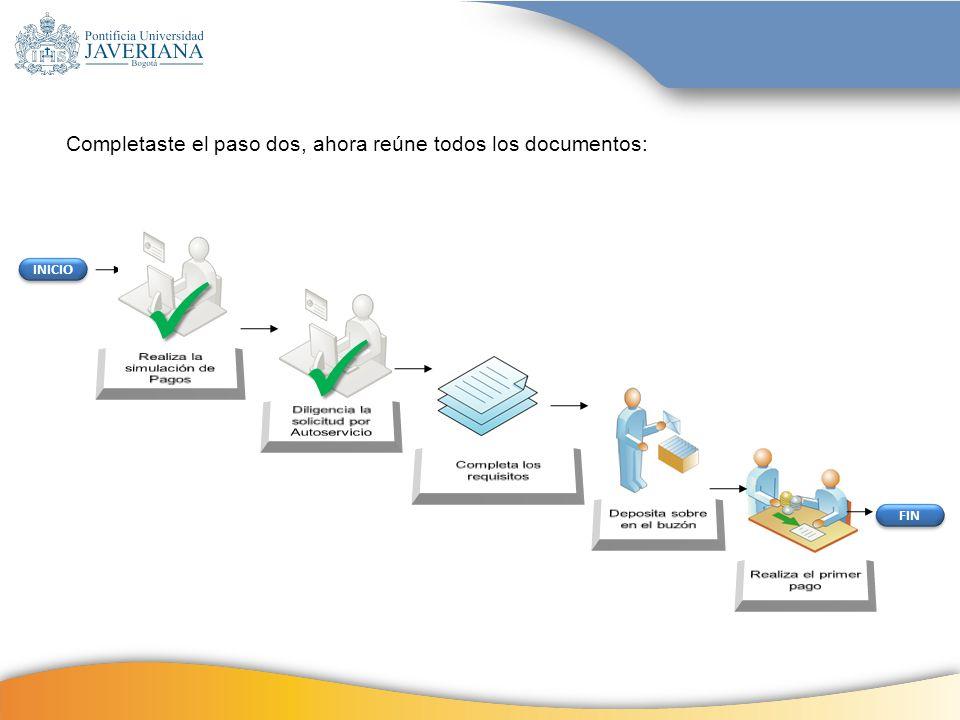 INICIO FIN Completaste el paso dos, ahora reúne todos los documentos:
