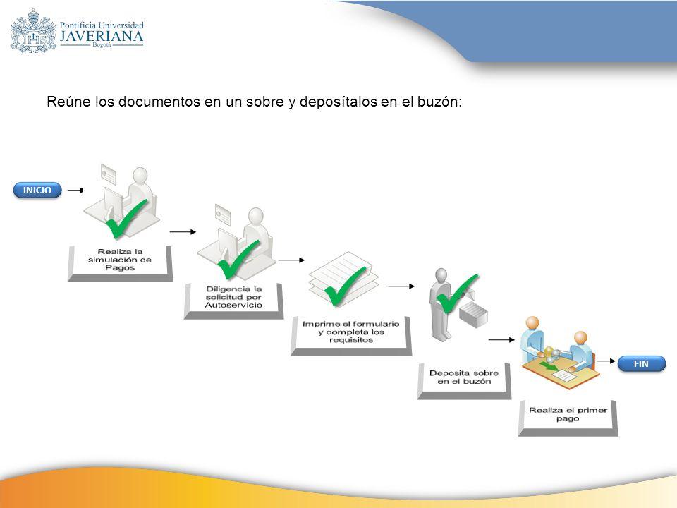 INICIO FIN Reúne los documentos en un sobre y deposítalos en el buzón:
