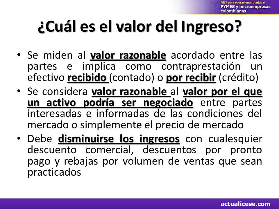 ¿Cuál es el valor del Ingreso? valor razonable recibido por recibir Se miden al valor razonable acordado entre las partes e implica como contraprestac