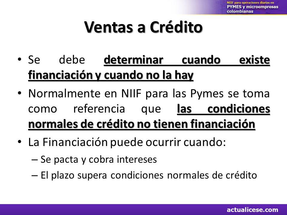 Ventas a Crédito determinar cuando existe financiación y cuando no la hay Se debe determinar cuando existe financiación y cuando no la hay las condici