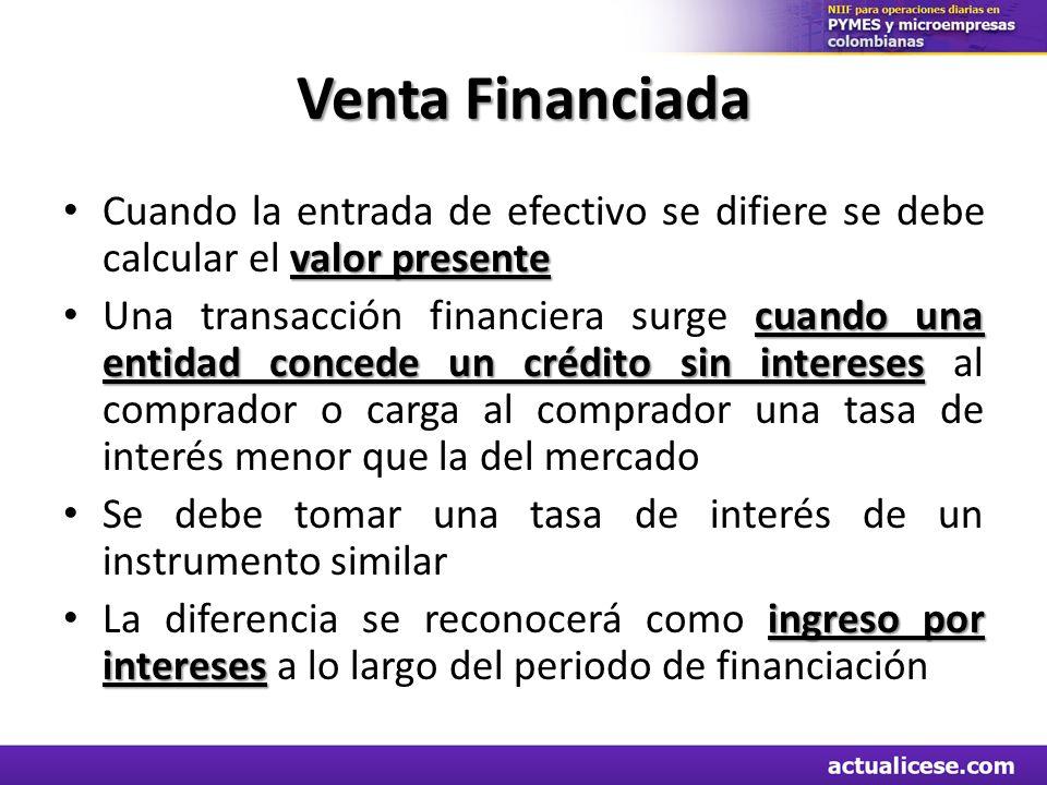 Venta Financiada valor presente Cuando la entrada de efectivo se difiere se debe calcular el valor presente cuando una entidad concede un crédito sin