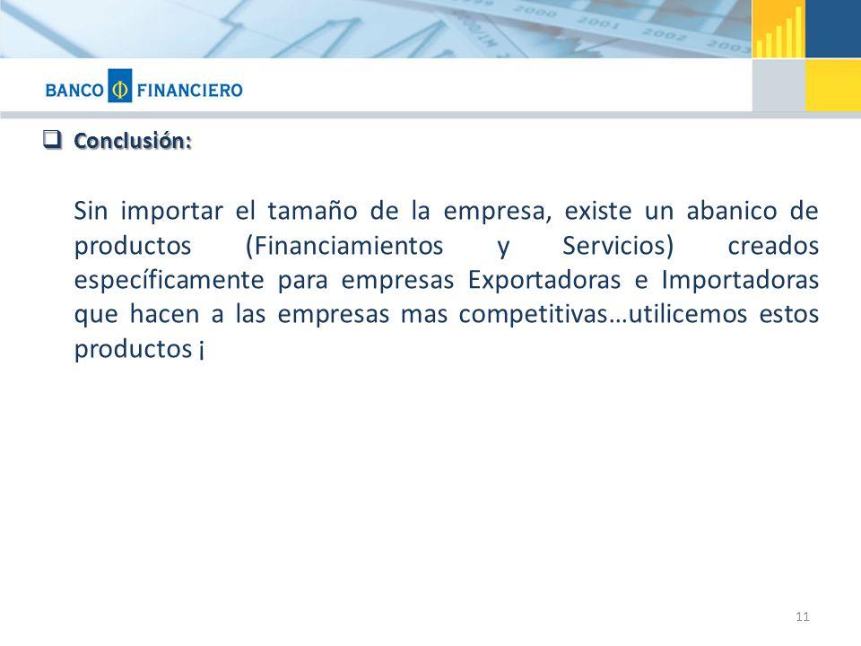 Conclusión: Conclusión: Sin importar el tamaño de la empresa, existe un abanico de productos (Financiamientos y Servicios) creados específicamente par