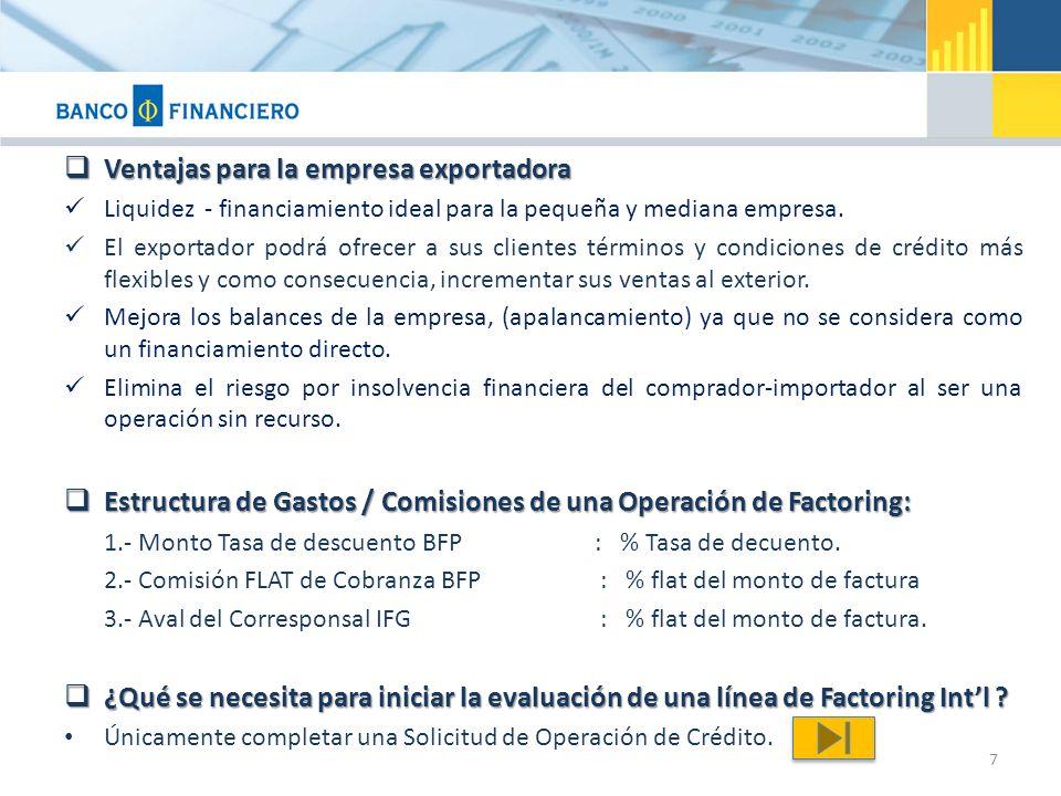 Ventajas para la empresa exportadora Ventajas para la empresa exportadora Liquidez - financiamiento ideal para la pequeña y mediana empresa.