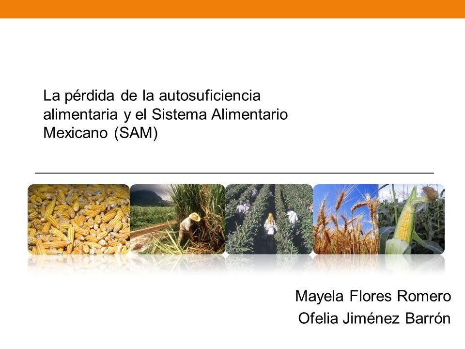 La pérdida de la autosuficiencia alimentaria y el Sistema Alimentario Mexicano (SAM) Mayela Flores Romero Ofelia Jiménez Barrón