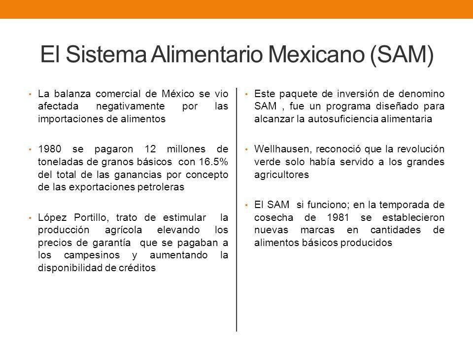 El Sistema Alimentario Mexicano (SAM) La balanza comercial de México se vio afectada negativamente por las importaciones de alimentos 1980 se pagaron 12 millones de toneladas de granos básicos con 16.5% del total de las ganancias por concepto de las exportaciones petroleras López Portillo, trato de estimular la producción agrícola elevando los precios de garantía que se pagaban a los campesinos y aumentando la disponibilidad de créditos Este paquete de inversión de denomino SAM, fue un programa diseñado para alcanzar la autosuficiencia alimentaria Wellhausen, reconoció que la revolución verde solo había servido a los grandes agricultores El SAM si funciono; en la temporada de cosecha de 1981 se establecieron nuevas marcas en cantidades de alimentos básicos producidos